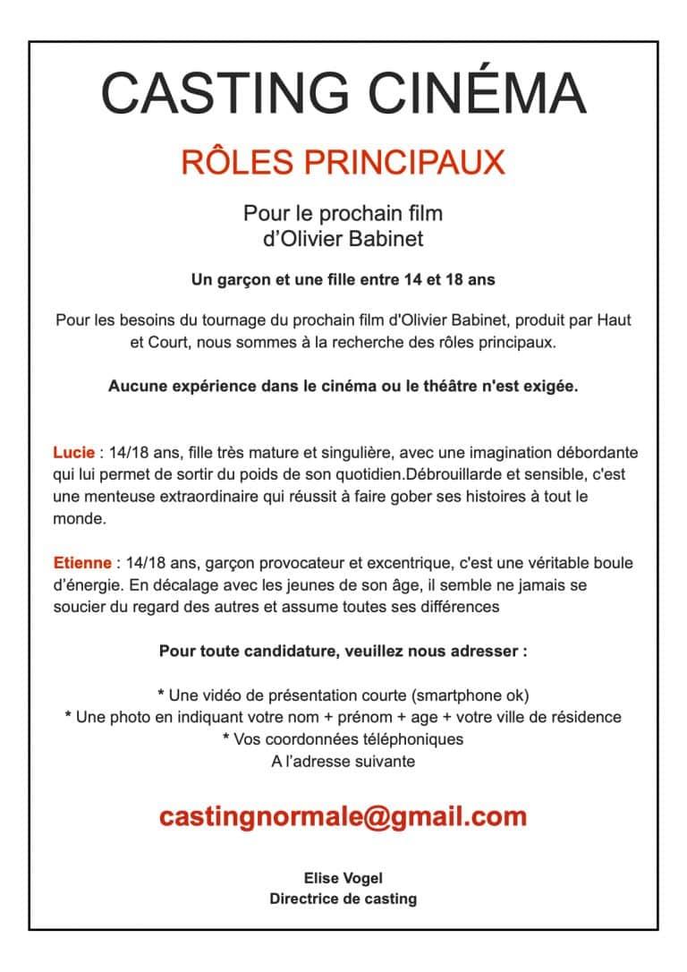 Casting rôles principaux Long-métrage cinéma jeunes entre 14 et 18 ans habitant de l'Orne