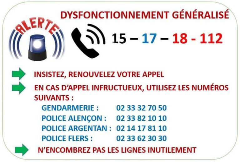 Dysfonctionnement des numéros d'appel d'urgence